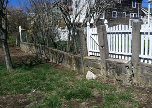 a retaining wall installed in Amherst